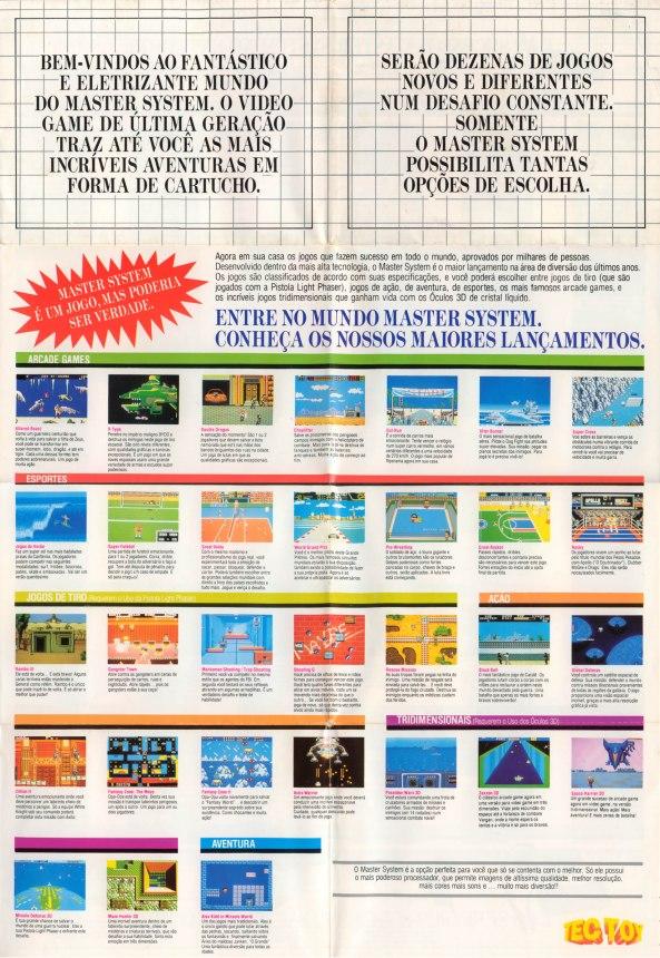 Catálogo de lançamento do Master System
