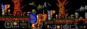 Stormlord (Amiga) tinha uma fada pelada. No Mega, ela ganhou um biquini.