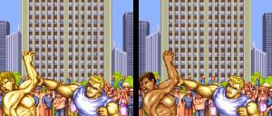 Enquanto dois loiros brigam na versão americana, na japonesa, o negro leva porrada